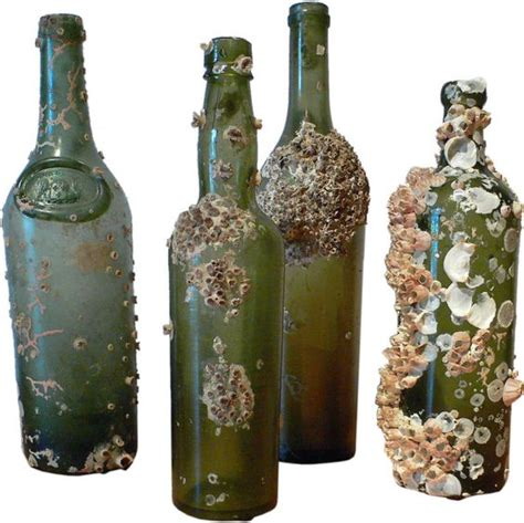 green glass shipwreck bottles verre antique java et