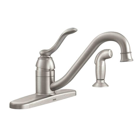 moen kitchen faucet moen banbury single handle standard kitchen faucet with side sprayer in spot resist stainless