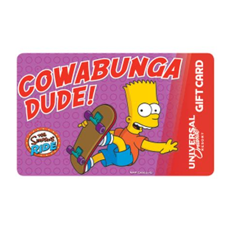 Universal Gift Cards - your wdw store universal collectible gift card the simpsons cowabunga dude