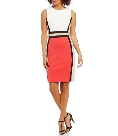 Ck Calvin Klein Sleevlees Dress calvin klein colorblock sleeveless scuba sheath dress