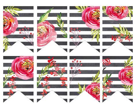 Watercolor Flower Printables Printable 360 Degree Flower Banner Template