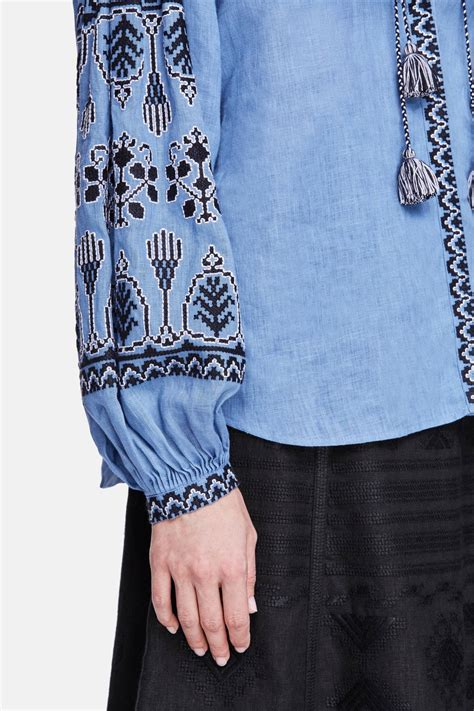 Blouse Blue Line embroidered blouse blue the line