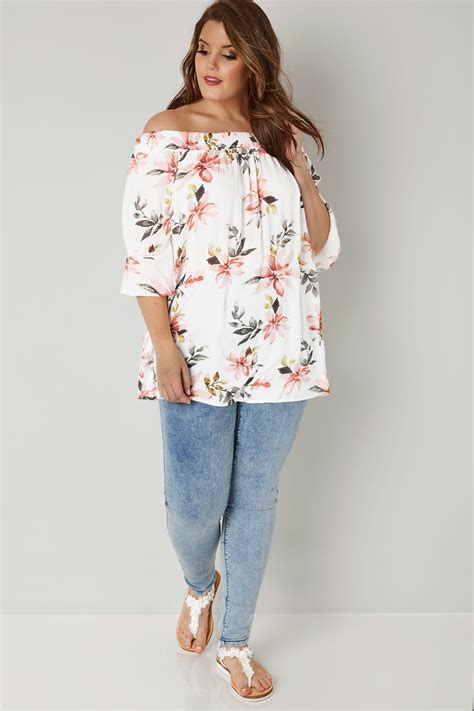 41810 Flowers Dress white floral print top with flute sleeves plus size 16 to 36