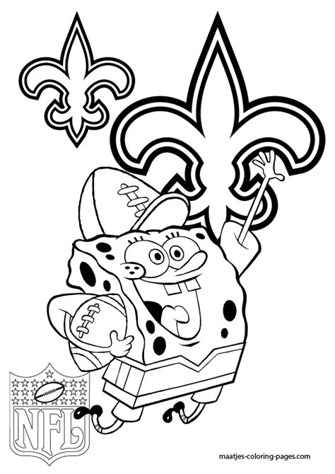 spongebob nfl coloring pages new orleans saints spongebob coloring pages
