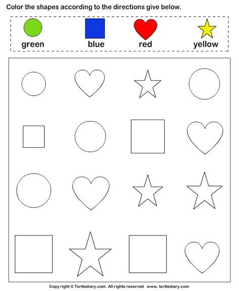 worksheets using shapes color the shape turtlediary com