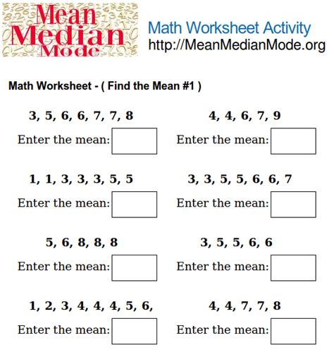 printable worksheets mean median mode range math worksheet activity find the mean 1 mean median