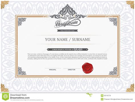home design certificate design template unique patterned certificate design template stock vector image 50116779