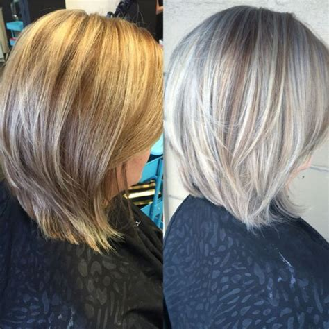 silvery blonde highlights avant apres silver highlights in brown hair google