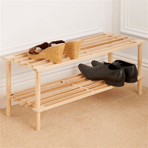 wood shoe rack 2 tier wooden shoe rack storage shelving b m