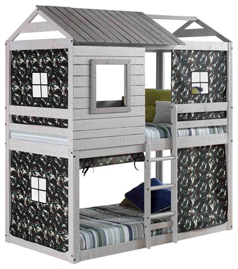 clubhouse bunk bed donco kids deer blind kid s bunk bed green camo