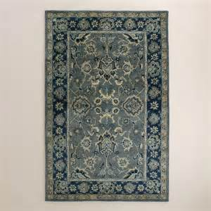 Area Rug Wool Agra Tufted Wool Blue And Grey Area Rug