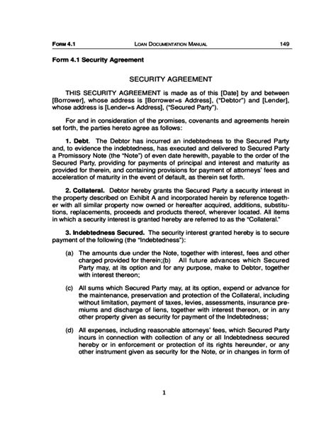 Ucc 1 Agreement Html Autos Weblog Ucc Security Agreement Template