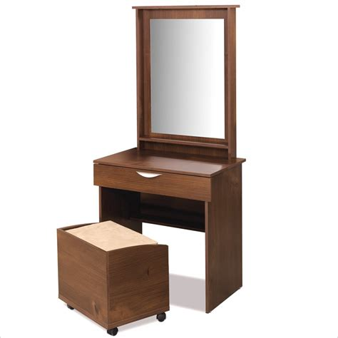 nexera nocce truffle wood makeup vanity table set w mirror