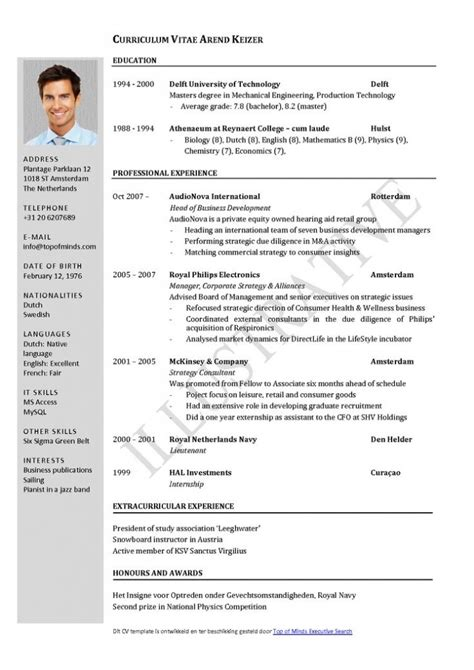 Cv Template With Photo Curriculum Vitae Resume Cv Exle Template