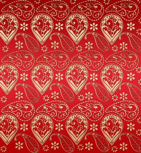 gold effect pattern red and gold effect paisley pattern free stock photo
