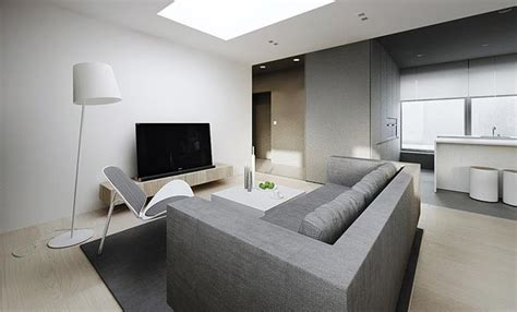 Modern White And Grey Living Room by Modern Minimalist Flat Interior Design
