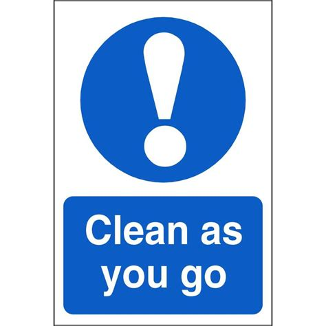 As You Go clean as you go mandatory signs food hygiene safety signs ireland