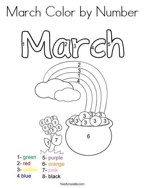 preschool coloring pages for march march color by number coloring page twisty noodle