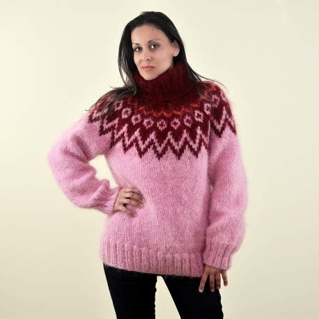 Rd Sweater Eyebrow Pink and pink color knitted mohair sweater extravagantza