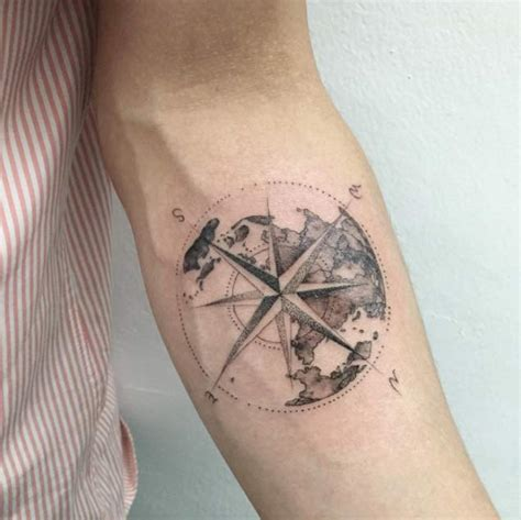 compass tattoo with globe and anchor 42 friggin amazing compass tattoos tattooblend