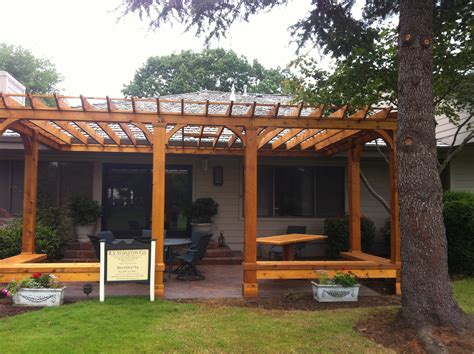 pergola bench cedar pergola with built in bench seating outdoor