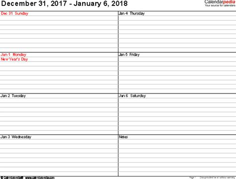 weekly calendar   word   printable templates