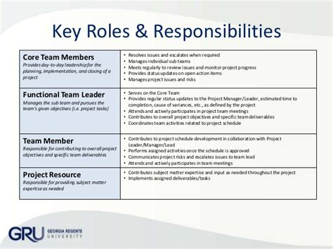 corporate roles and responsibilities template organization chart project responsibilities