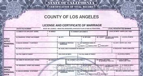 Los Angeles County Records Copy Of Marriage License Request Form Marriage Certifcate