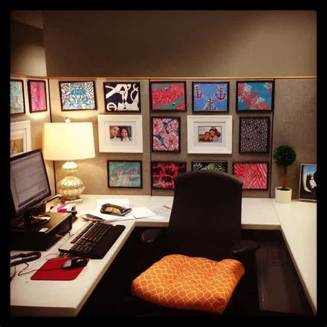 cubicle decor with dollar tree frames and printed lilly cubicle ideas office cubicle ideas office s webemy co