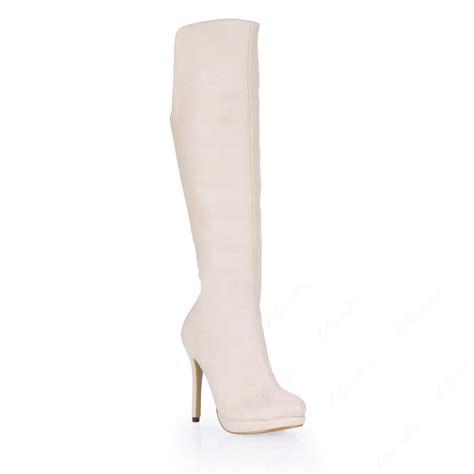 white stiletto heels knee high s boots