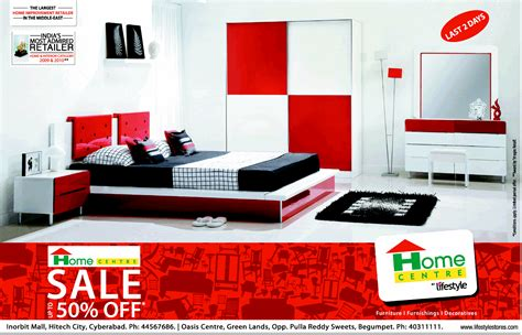 sale upto 50 on furnitures at home centre hyderabad