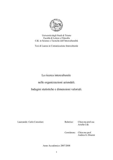 lettere e filosofia trieste la ricerca interculturale nelle organizzazioni aziendali