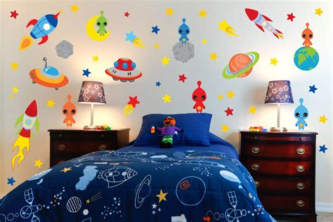 space bedroom stickers space theme wall decals outer space room alien wall decals