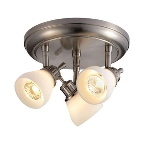 Directional Ceiling Light Fixtures Hton Bay 3 Light Satin Nickel Directional Ceiling Track Lighting Fixture Rb169 C3 The Home