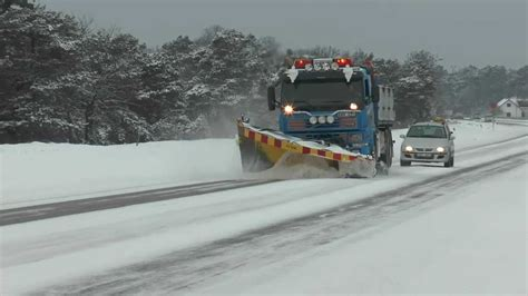 volvo truck snow plow  scrape ice   road   youtube