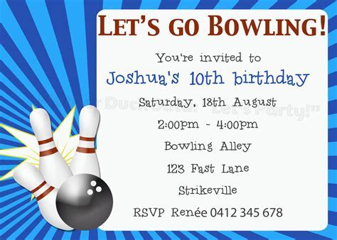 bowling birthday card template duck said quot lets quot ten pin bowling