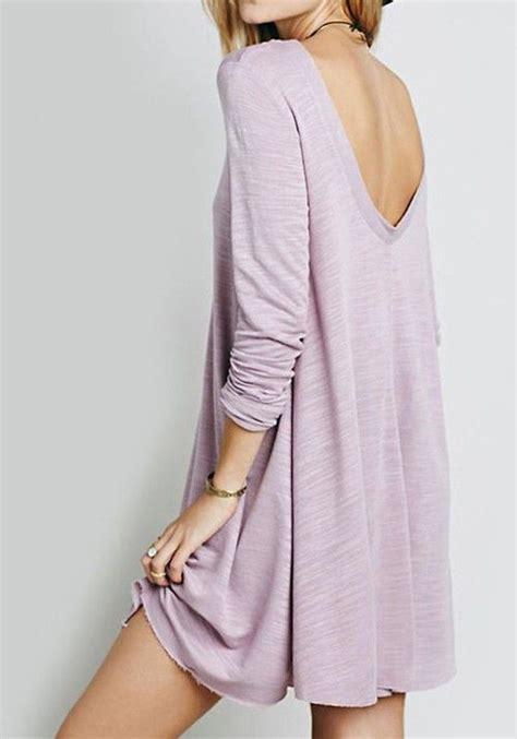 Ellegy Plain Casual Mini Dress purple plain backless sleeve casual mini dress sleep sleeve and