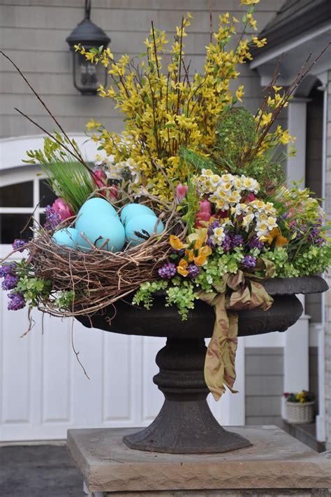 spring decorating easter urn outdoors spring decor pinterest urn