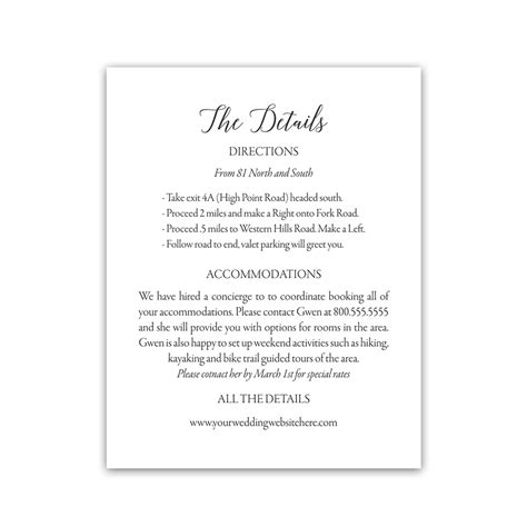 Wedding Invitations Inserts by Modern Script Wedding Guest Information Insert Cards