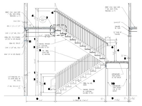 r section detail advanced detailing corp steel stairs shop drawings