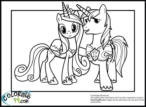 Shining Armor Coloring Pages Team Colors My Pony Princess Cadence Coloring Pages