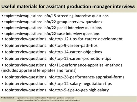 top 10 assistant production manager questions and answers