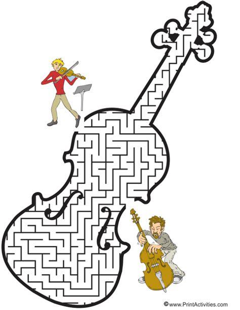 printable music maze violin maze shaped like a violin