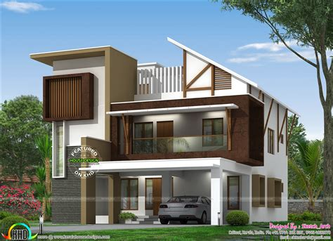 Home Design Roof by Modern Slanting Roof Home Kerala Home Design And Floor Plans