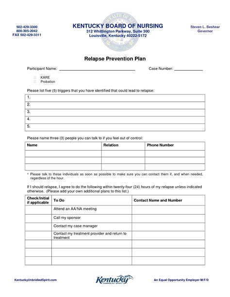 relapse prevention plan template business template