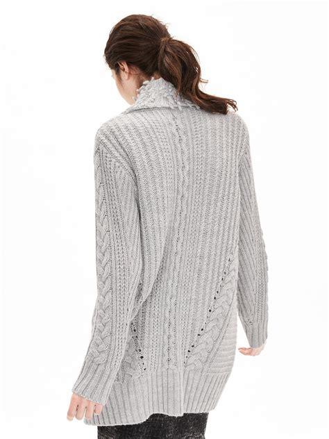 knit coat banana republic fringe collar cable knit sweater coat in