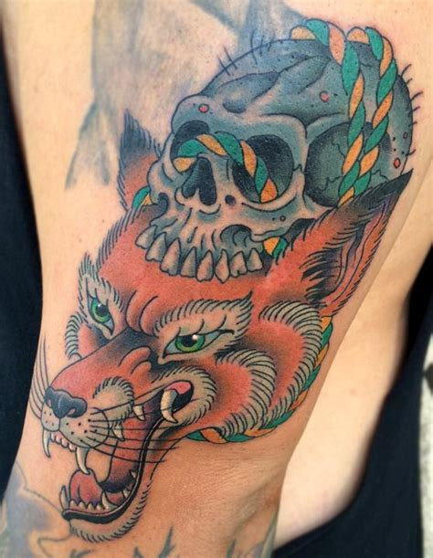 kitsune tattoo kitsune with skull by skyler drago tattoonow