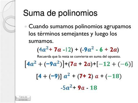 suma y resta de polinomios multiplicacin de polinomios y divisin operaciones con polinomios