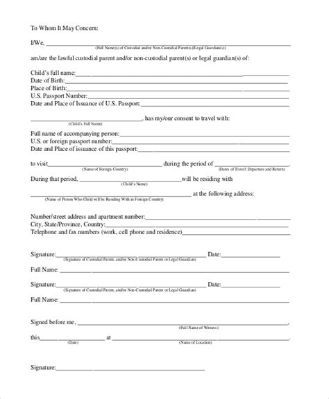 parental consent form template travel authorization letter for minor travel without parents
