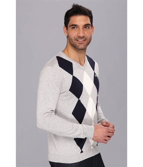 diamond pattern sleeveless jumper lyst lacoste cotton jersey diamond pattern vneck sweater